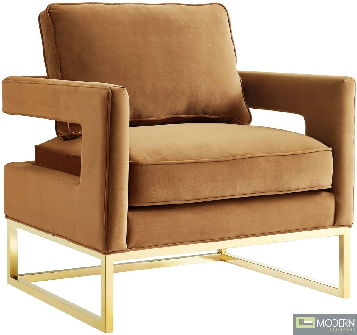 Athene Velvet Chair in Desert Sand & gold