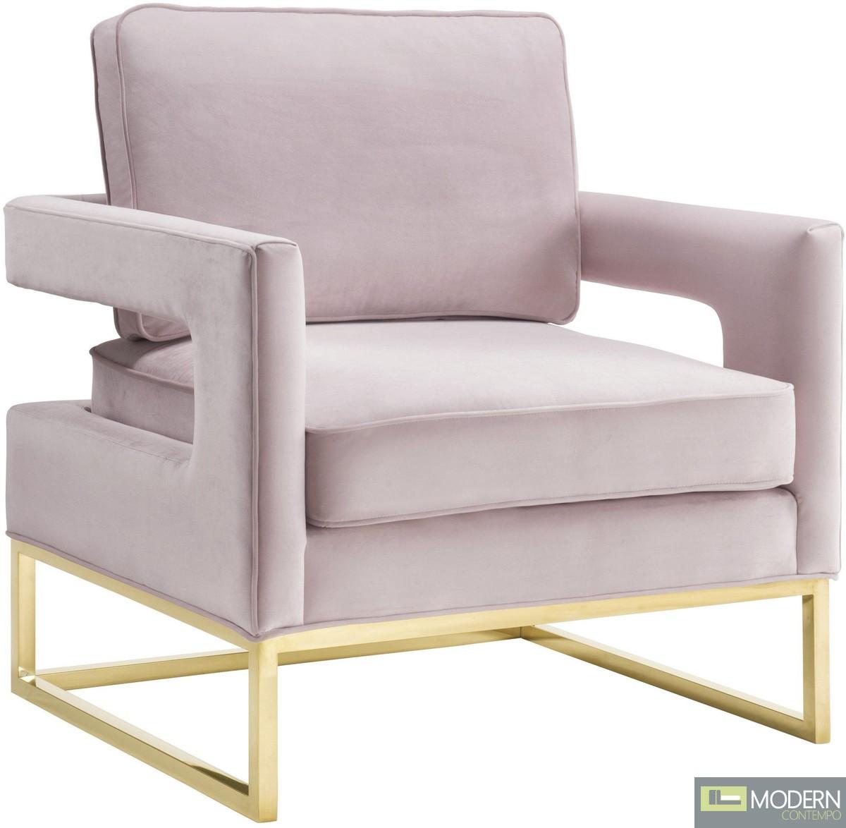 Athene Velvet Chair Soft Blush & gold