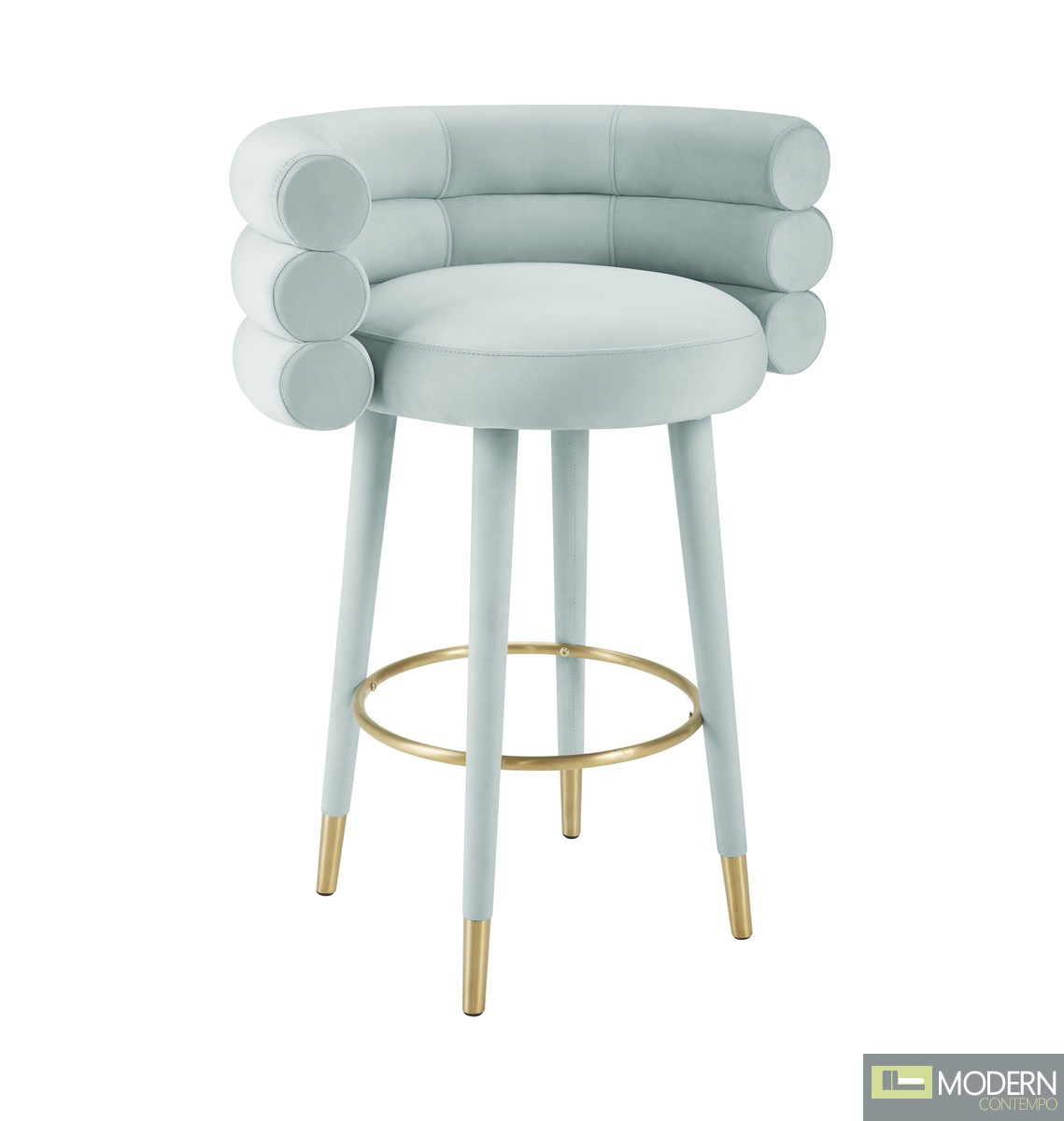Alessia Mint Green Velvet Bar Stool