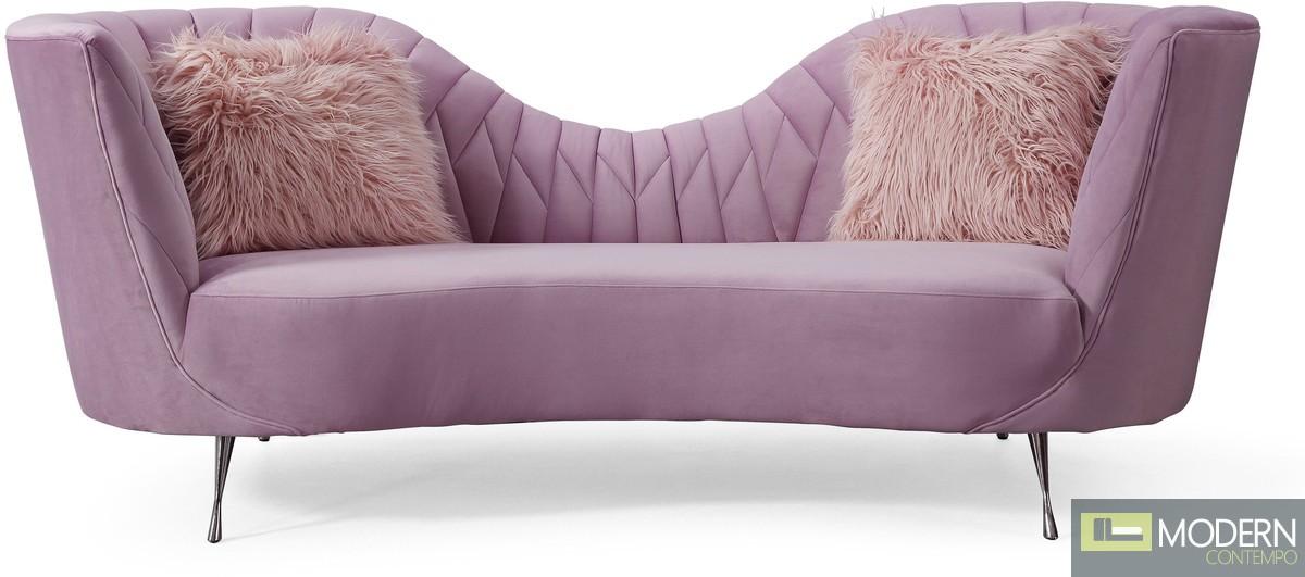 Elsa Grey Velvet Sofa Blush