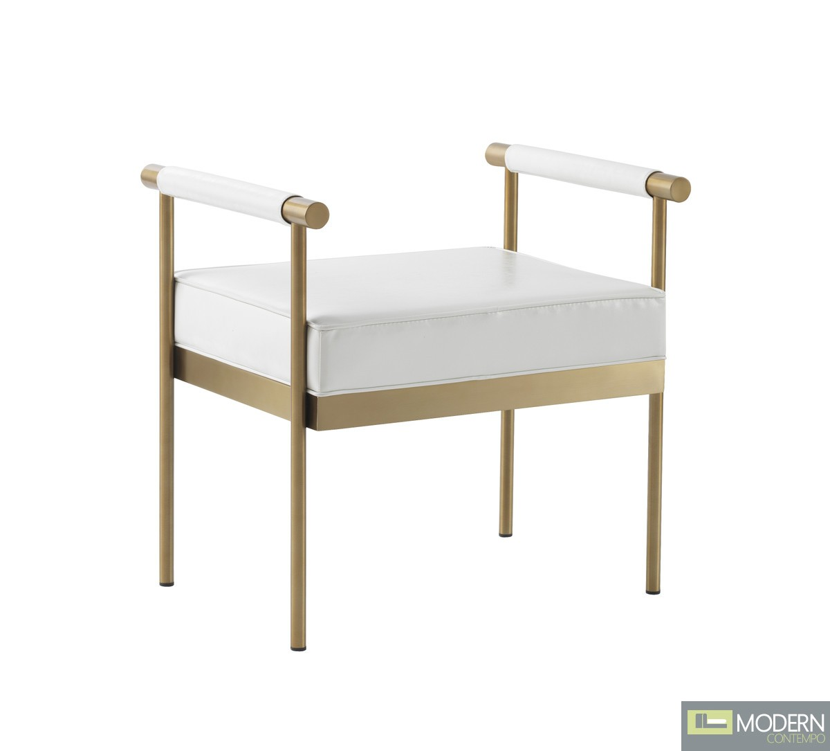 Azzurra White Vegan Leather Bench