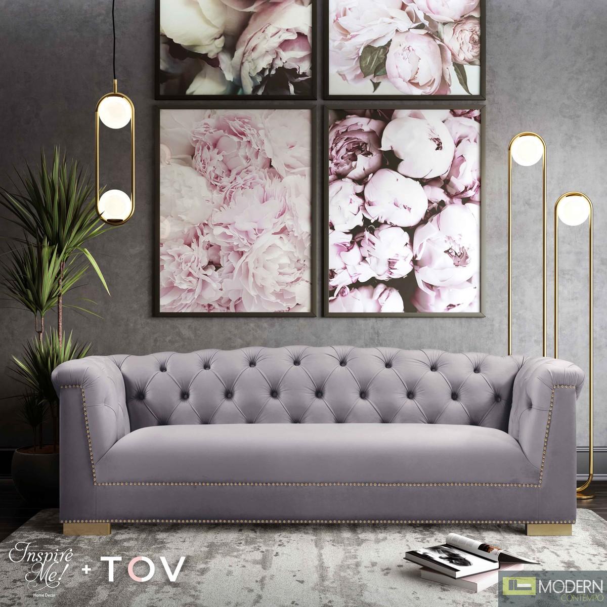Faye Grey Velvet Sofa