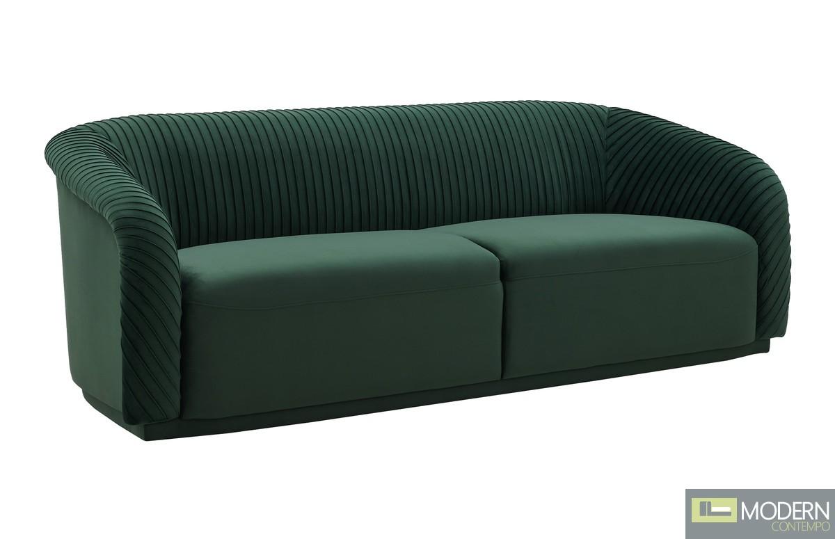 Cleo Pleated Forest Green Velvet Sofa