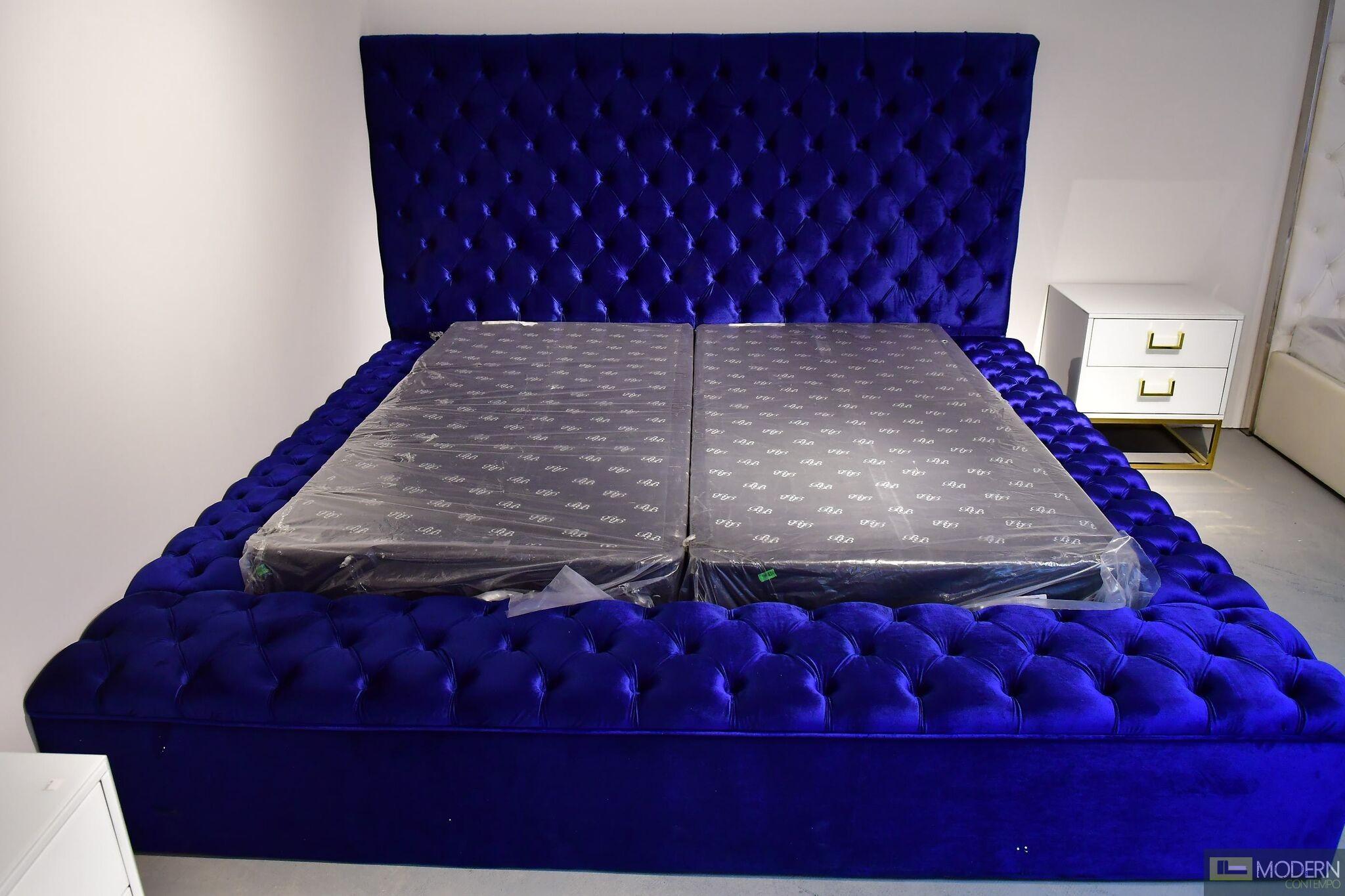 Hermes BLUE Velvet Bed with storage in footrest & side rails