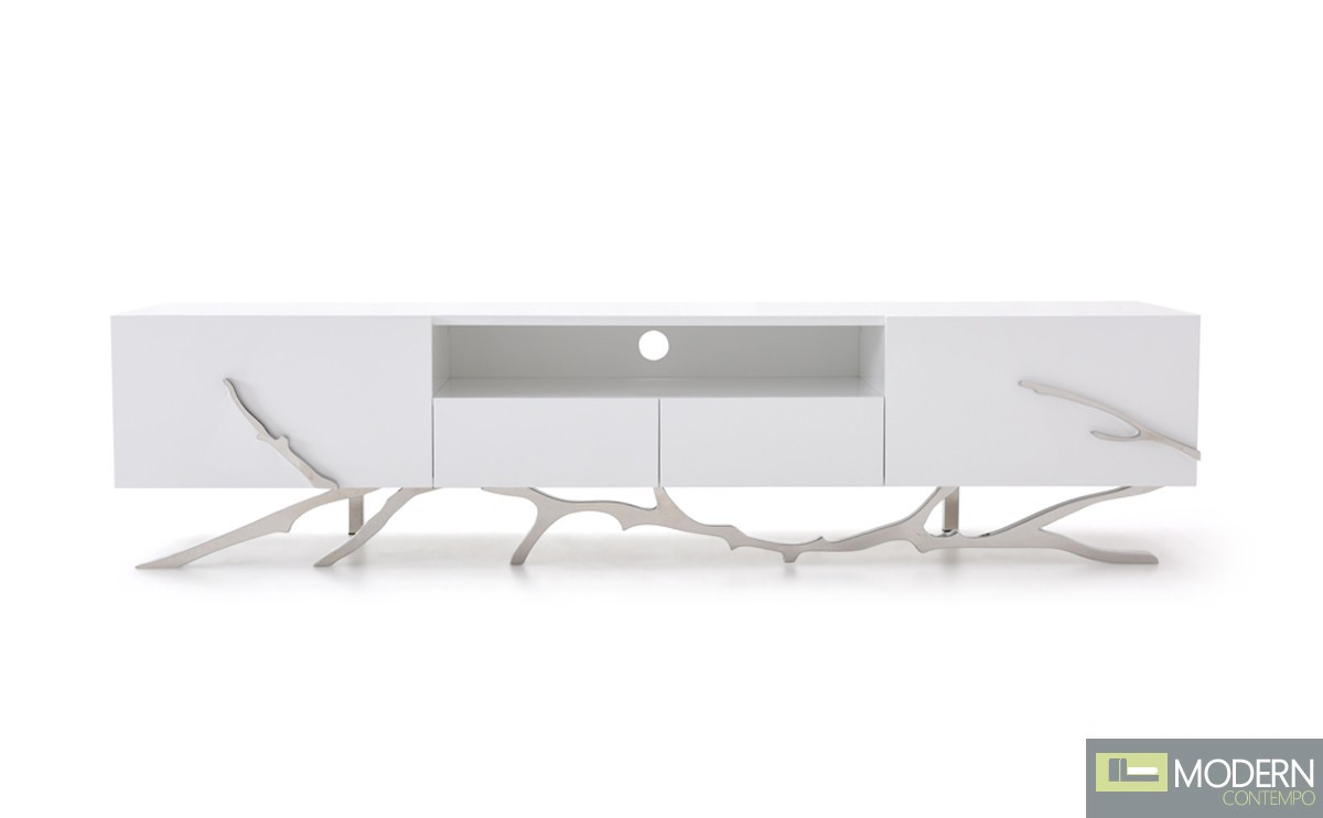 Alessio Modern White TV Stand Stainless Steel