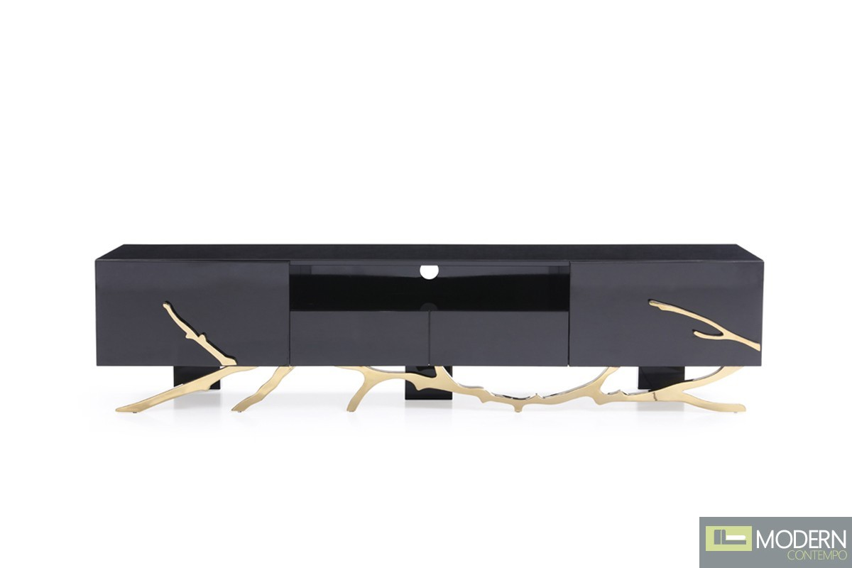 Alessio Modern Black & Gold TV Stand