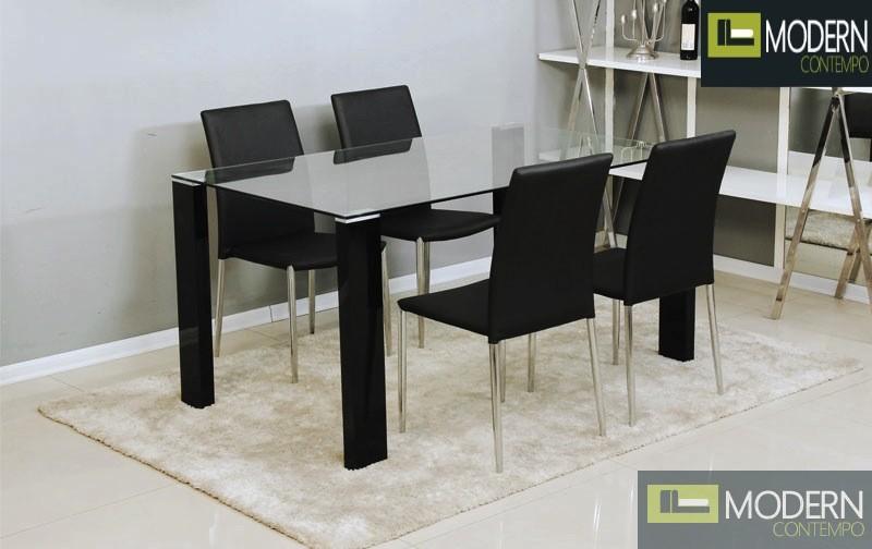 5Pc Carmen Glass Dining Table Set
