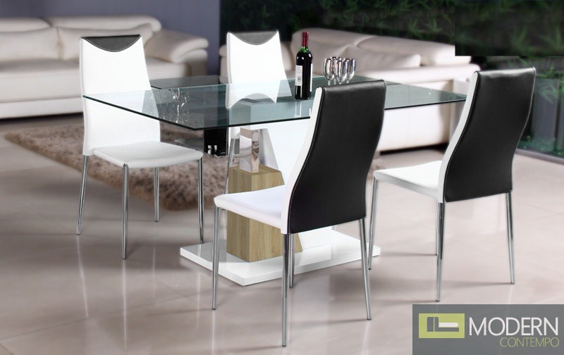 Modern White Lacquer With Chrome Glass Top Dining Table