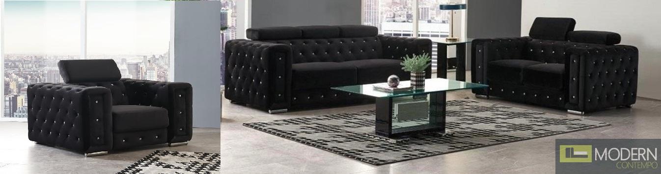 Modern  Black Velvet Sofa Set with Crystals