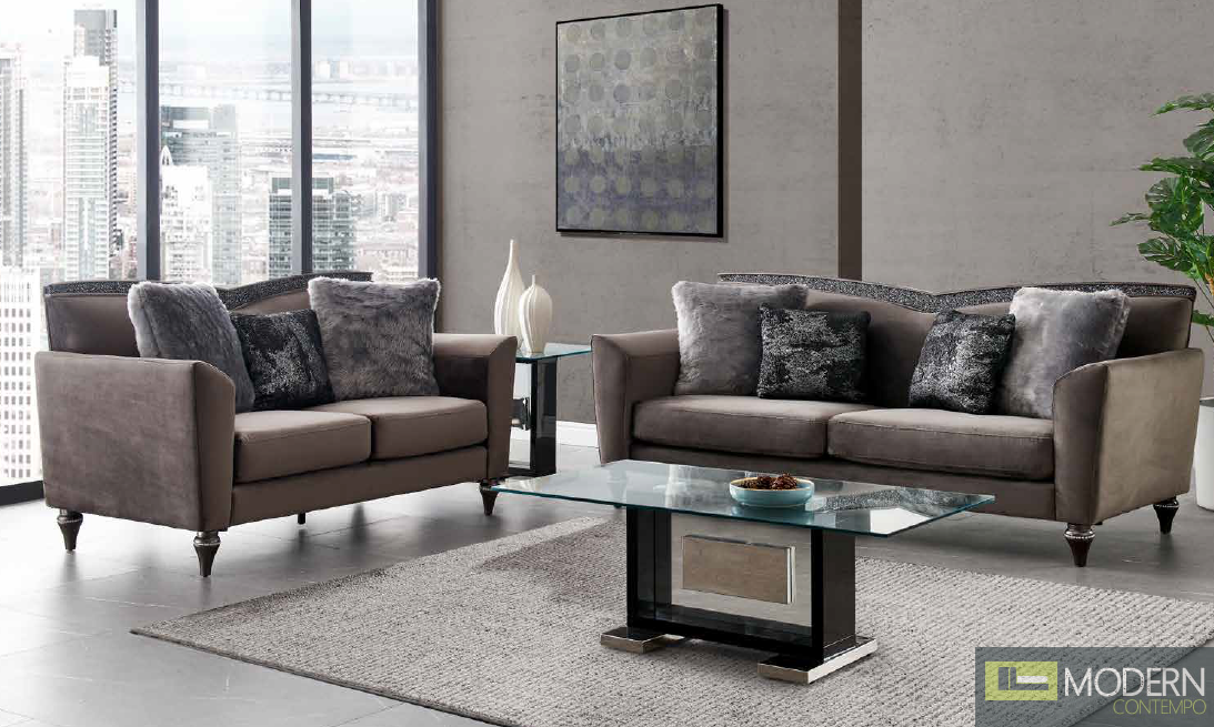 Modern Grey Fabric Sofa Set with Trim Glitter Accent.