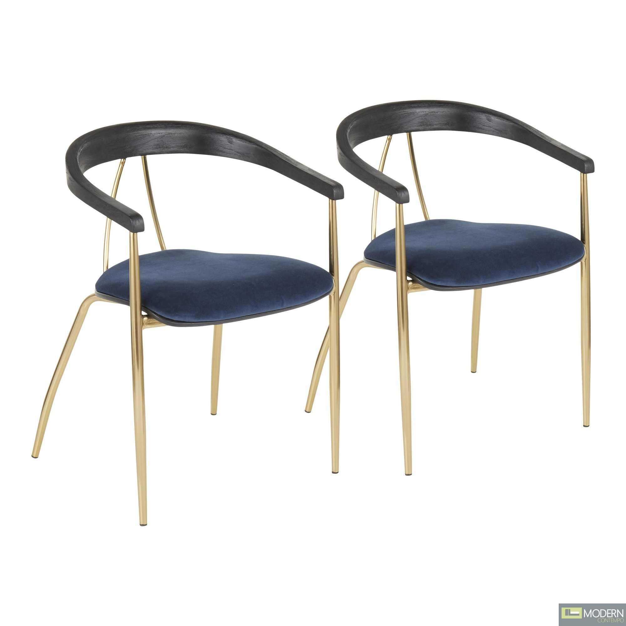 Angelina Chair in Blue Velvet & Gold Metal - Set of 2