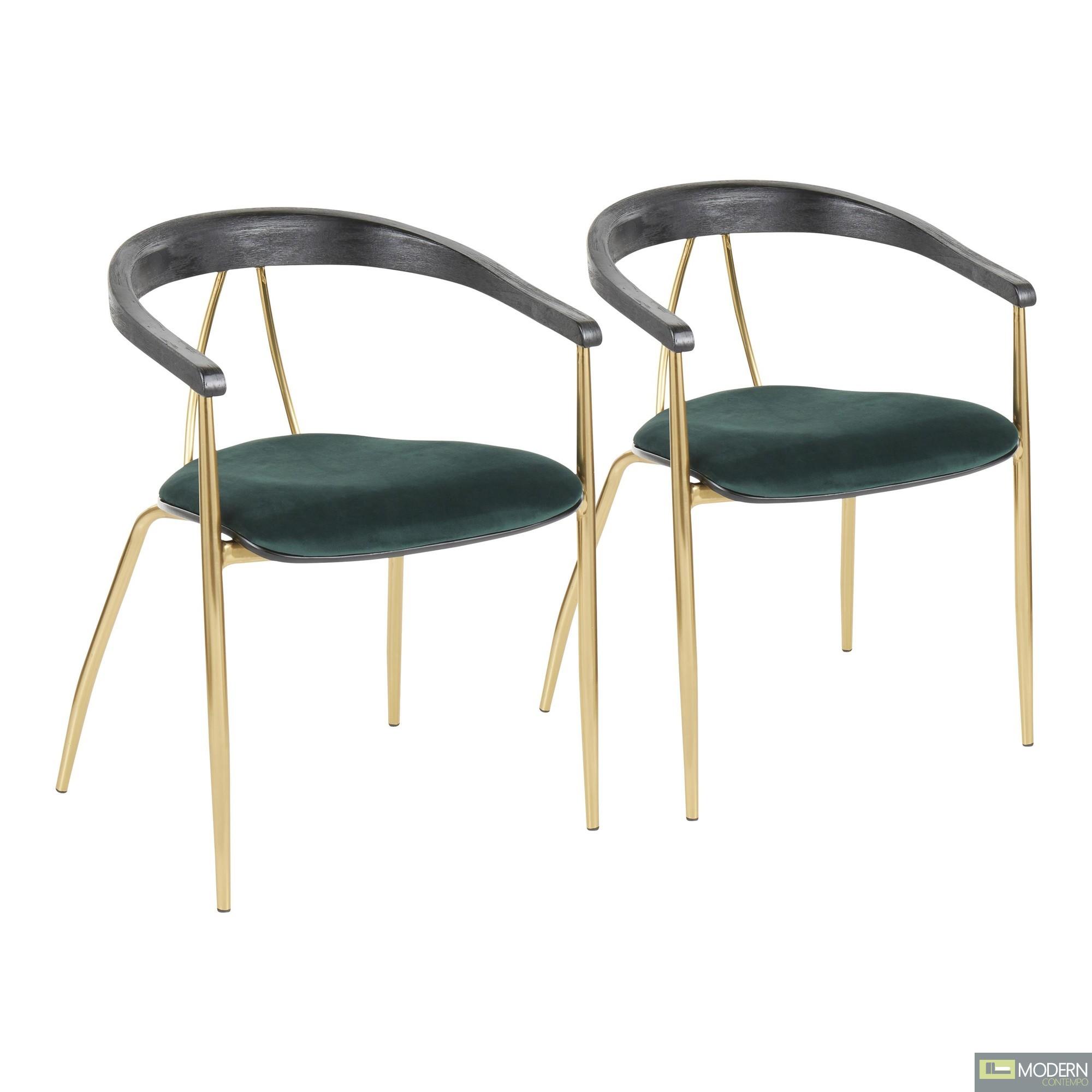 Angelina Chair in Green Velvet & Gold Metal - Set of 2