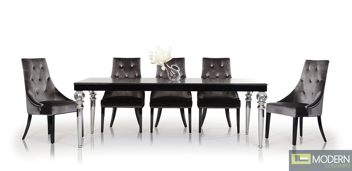 Armani Xavira RC838-221 Transitional Black Crocodile Lacquer Dining Table