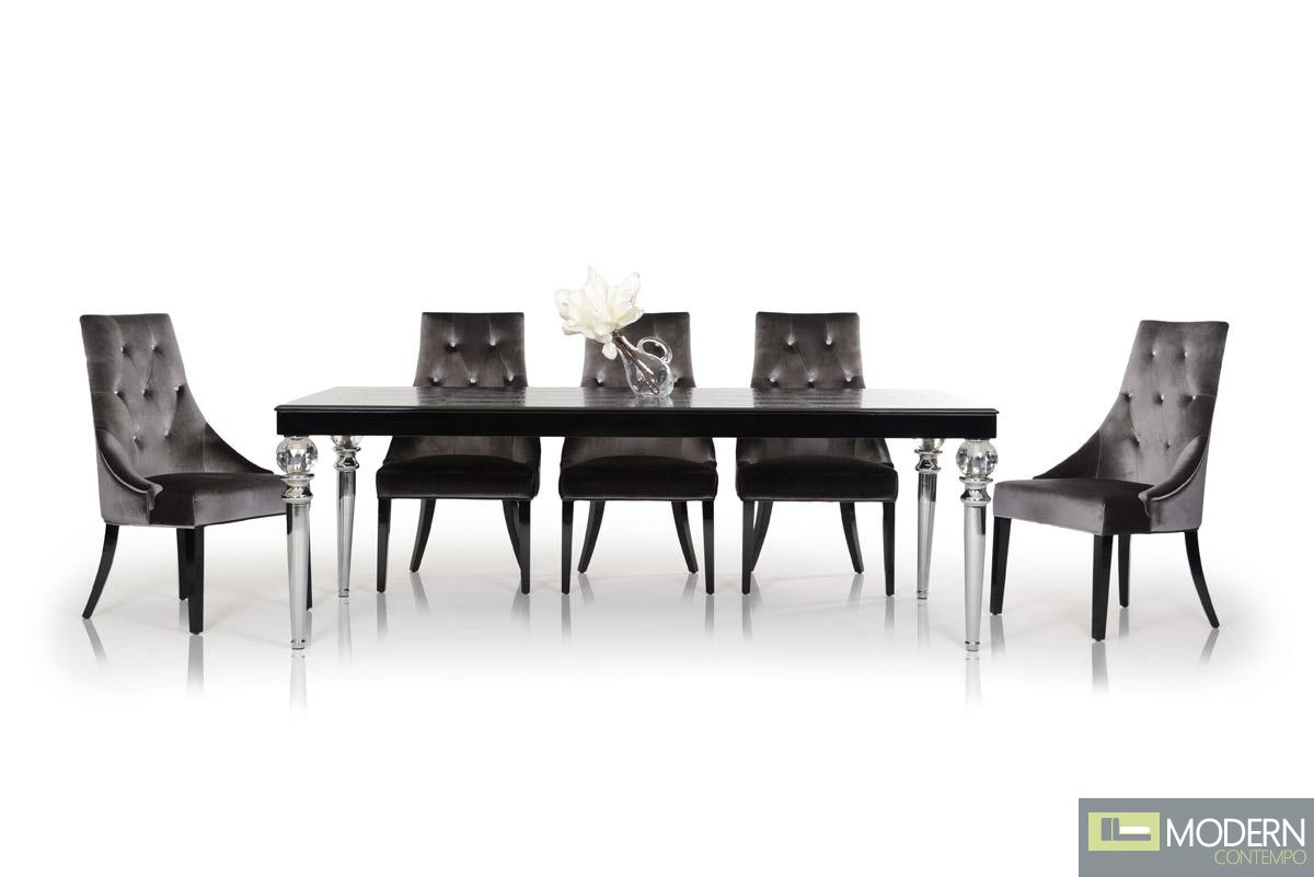 A&X Kano - Transitional Black Crocodile Lacquer Dining Table