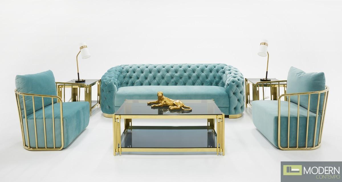 Luce Chestefield Modern Tufted Blue Velvet Sofa