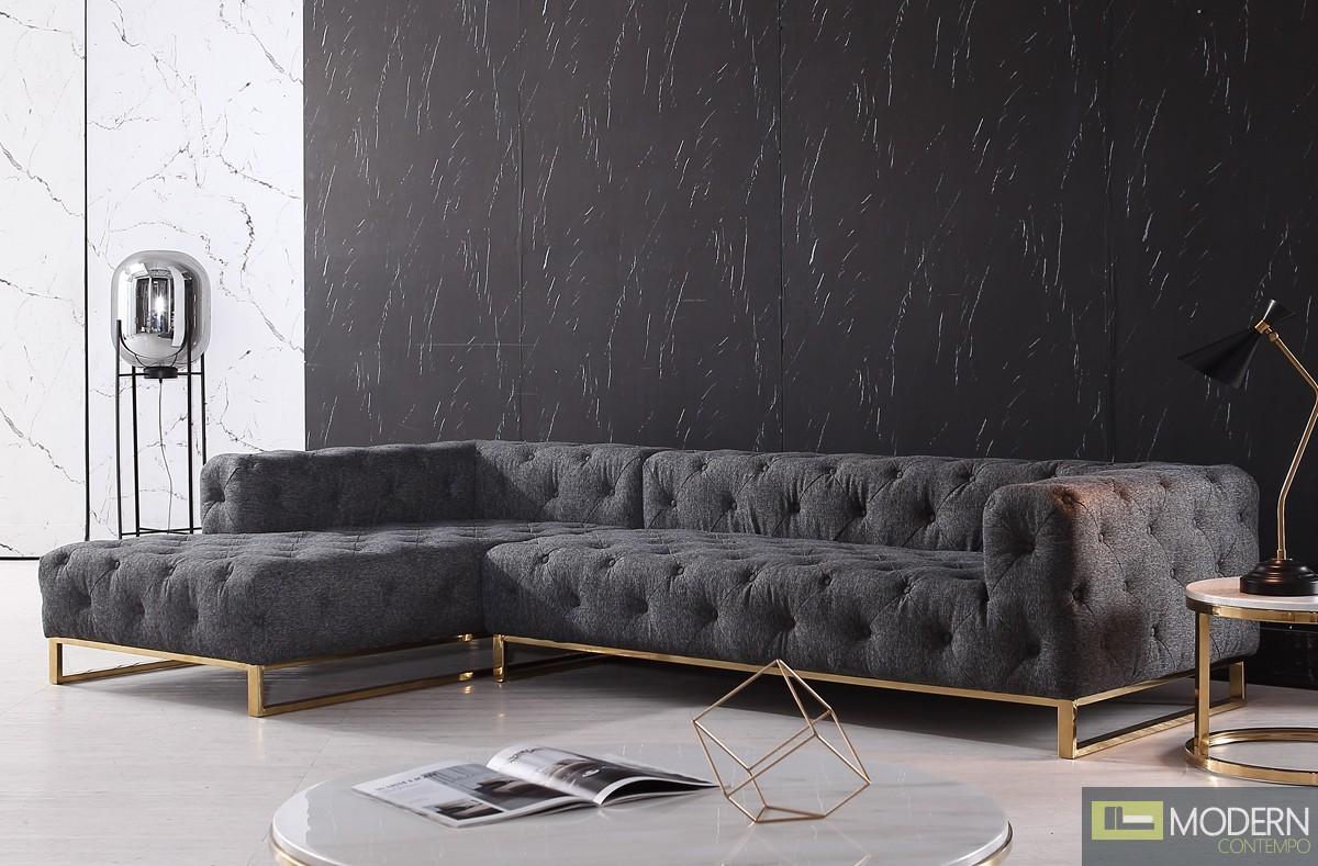 Sorrento Modern Grey Fabric Sectional Sofa