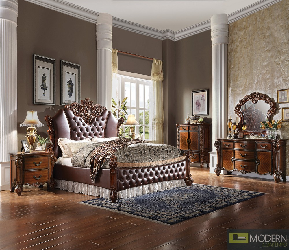 Luxury Dark PU leather and Cherry Finish with Velvet Bed. MCNJ1003