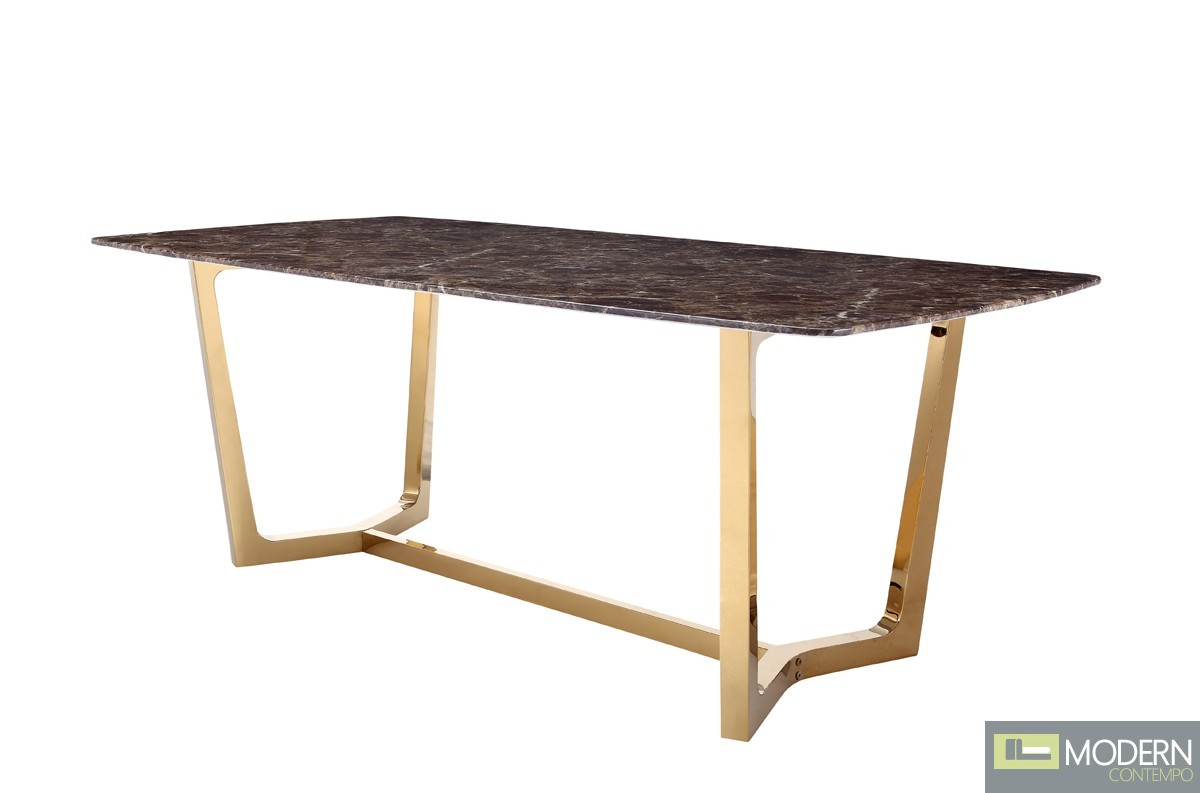 Kiva Modern Brown Faux Marble & Gold Dining Table