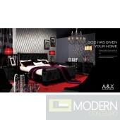A&X Palace Modern Black Fabric Bed