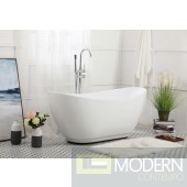 Modern 62 inch Soaking Bathtub in Glossy White