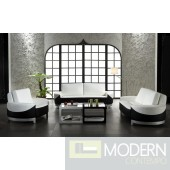 0893 Modern white and black bonded leather 3 piece sofa set
