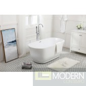 59 in. Oval Soaking Bathtub in Glossy White