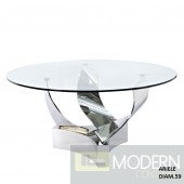"Cyclone Modern Round 60""Glass Table with Hand Polished Stainless Steel base"