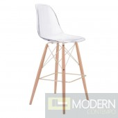 Zuo Modern Shadow Bar Chair, Clear/Natural/Gold  - LOCAL DMV DEALS