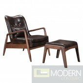 Bern Lounge Chair & Ottoman, Brown