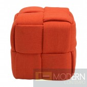 Orange Woven Stool Ottoman