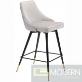 Piccolo Counter Chair Grey Velvet