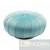 Jasmine Bun Velvet Ottoman Light Blue