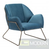 Stanza Arm Chair Blue Velvet - LOCAL DMV DEALS