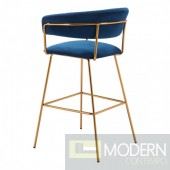 Diana Bar Chair Dark Blue Velvet