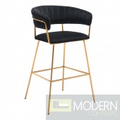 Diana Bar Chair Dark Black Velvet