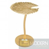 "Daisy 15"" Wide Gold Leaf-Shaped Metal Side Table"