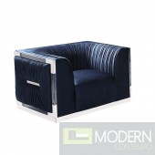 Celine Velvet Chair NAVY VELVET WITH ACRYLIC FRAME