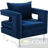 Blue Velvet Accent chair on Acrylic legs