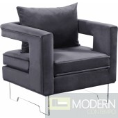Grey Velvet Accent chair on Acrylic legs