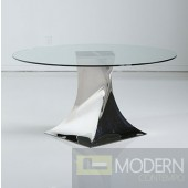 "Axes Modern Round 60""Glass Table with Hand Polished Stainless Steel base"