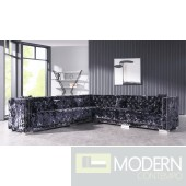 Pisano Modern Black Crushed Velvet Sectional Sofa