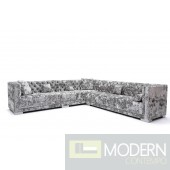 Pisano Modern Grey Crushed Velvet Sectional Sofa