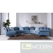 Genovese Modern Blue Velvet Circular Sectional Sofa