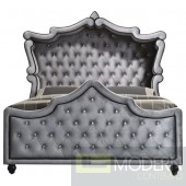 Zuriel Hooded Grey Velvet Canopy Bed