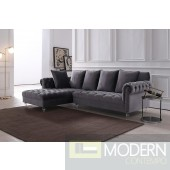 Adalene Grey Velvet Sectional Sofa
