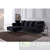 Adalene Black Velvet Sectional Sofa