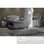 5Pc Herbet Grey Velvet Sleigh Bed Set