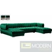 Admiral Velvet 3pc Sectional - Emerald Green
