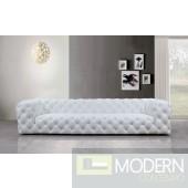 Artemis Transitional White Full Italian Leather Sofa