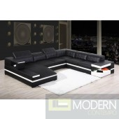 Modern Leather Sectional Sofa with Lights-MCNV103
